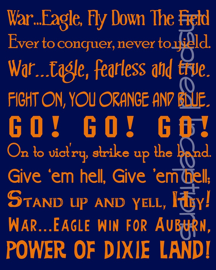 Auburn Fight Song Subway Art Poster 11x14. $15.00, via Etsy.