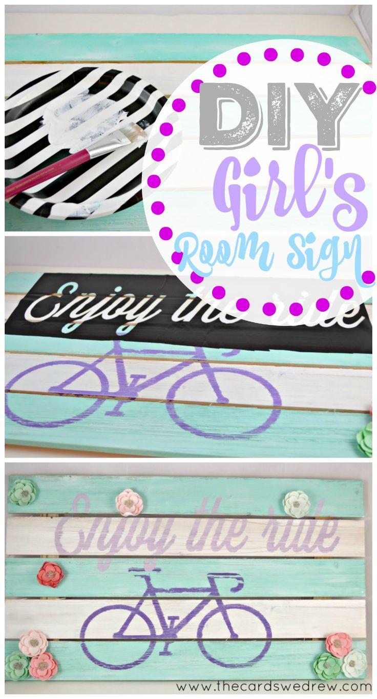 DIY Girl's Room Sign using @plaidcrafts Apple Barrel Paint. Girls room decor ideas. Bicycle decor.
