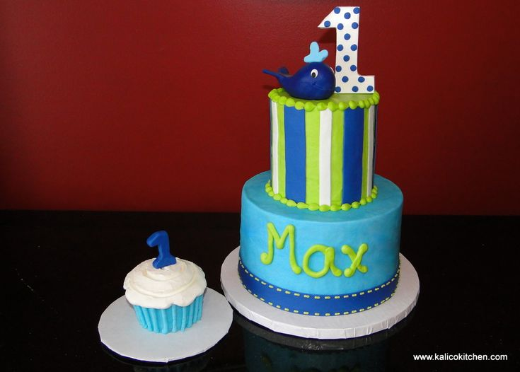 Birthday Cakes- first. baby blue whale, cupcake smash cake, blue, green, and white