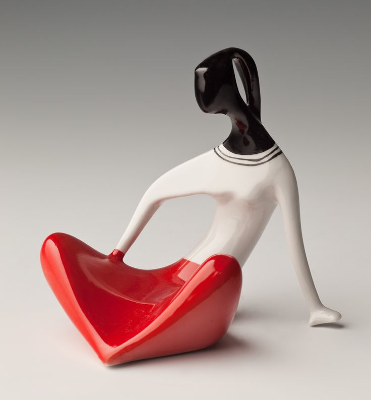 1958 'Seated Girl' by H. Jędrasiak for ZPS Chodzież Porcelain Factory, Poland
