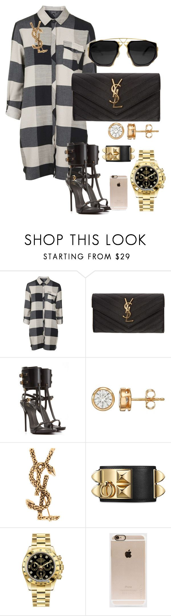 """""""Untitled #301"""" by scannedbyaaron ❤ liked on Polyvore featuring Topshop, Yves Saint Laurent, Giuseppe Zanotti, Rolex and Incase"""