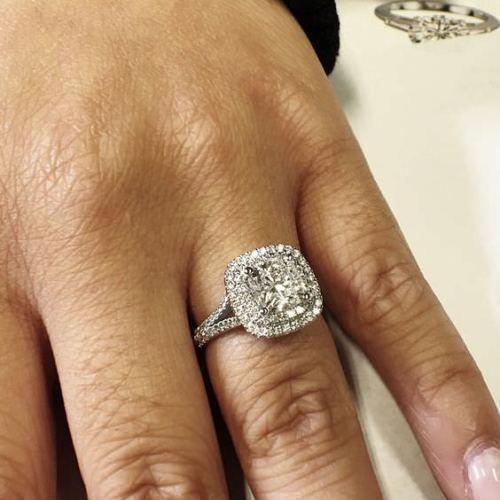 Certified 3Ct White Cushion Halo Diamond Ring Engagement