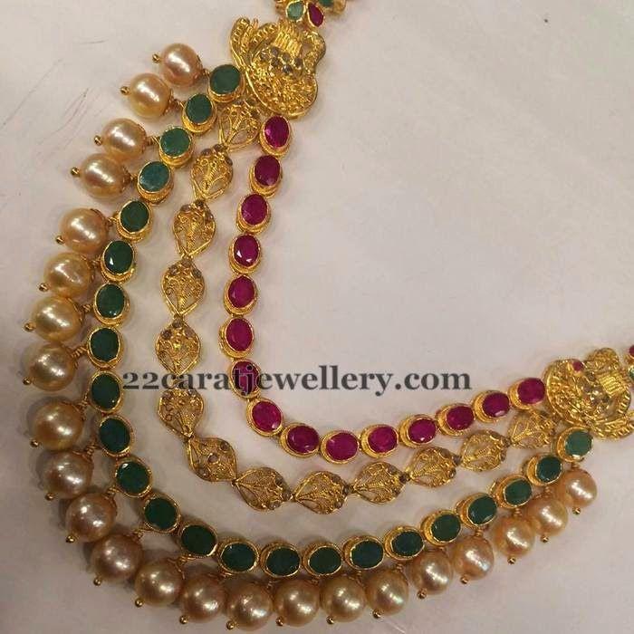 Jewellery Designs: Leafy Design Three Rows Choker