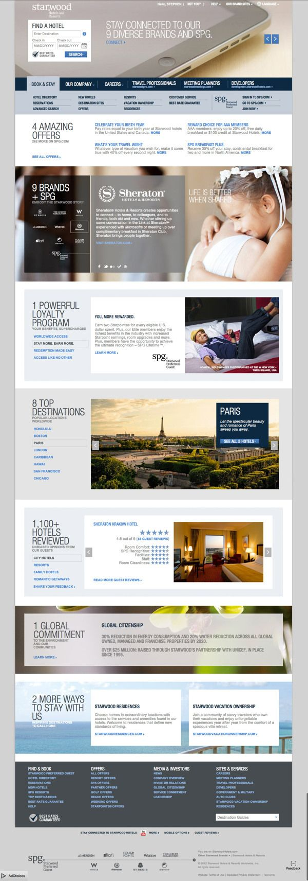 Starwood Hotels & Resorts Corporate Site Design by Stephen Gates, via Behance