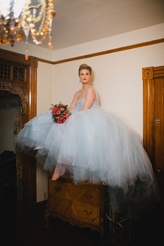 Love with ice blue wedding dress