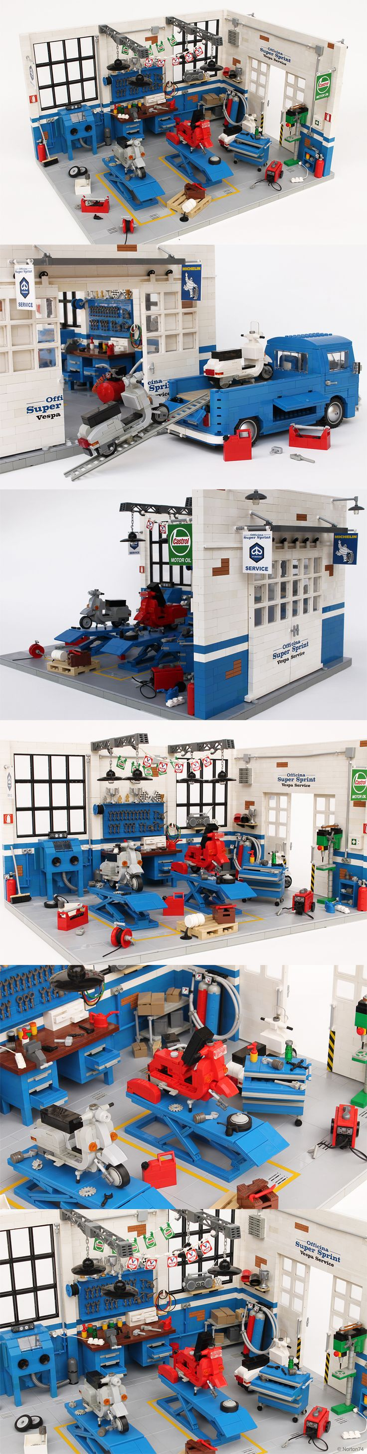 'Officina Super Sprint' classic Vespa LEGO workshop model by Andrea Lattanzio