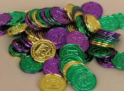 The doubloon is one of the most enduring symbols of Mardi Gras. These highly detailed, brightly-colored coins are thrown from the floats and many have become collector items. Doubloons are stamped with the different carnival club logo on one side and the parade's theme on the other, so that no two clubs have doubloons that are exactly alike, and each year they are different, too. They are minted in various colors, and from different materials, like aluminum, silver, bronze and now plastic.