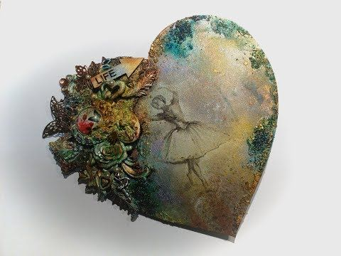 Serce decoupage & Mixed media DIY* Decoupage &Mixed media heart tutorial - YouTube