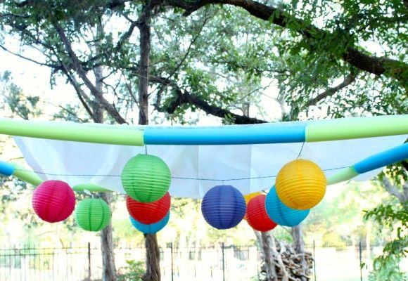 Make a party canopy with items from the dollar store