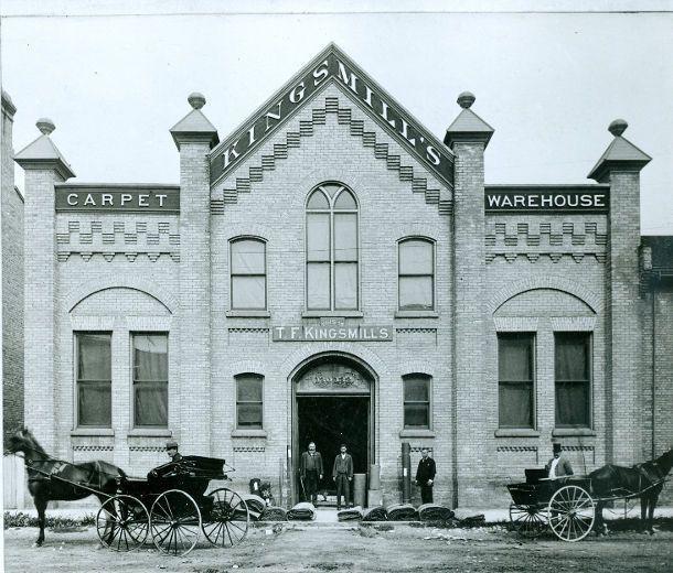 Kingsmills Carpet warehouse on Carling St, circa 1897. (London Free Press files)