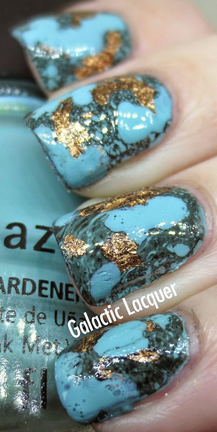 Galactic Lacquer: Turquoise Stone Nail Art   Via Womenstime.net