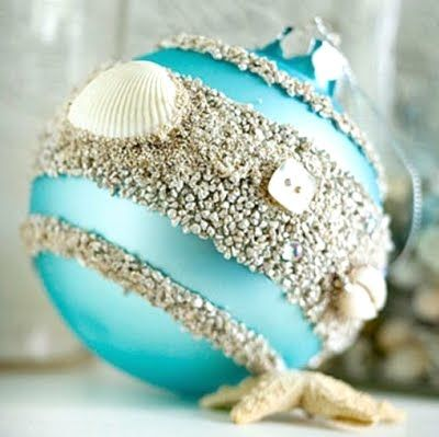 This little beach sand ornament starts with a basic blue ball. Paint on bands of glue and pour beach sand onto the glue. Dab a bit of glue onto the small shells, press into sand around the middle band, and let dry. Via BHG.
