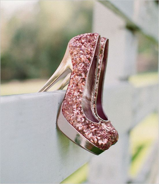 pink sparkly wedding shoes