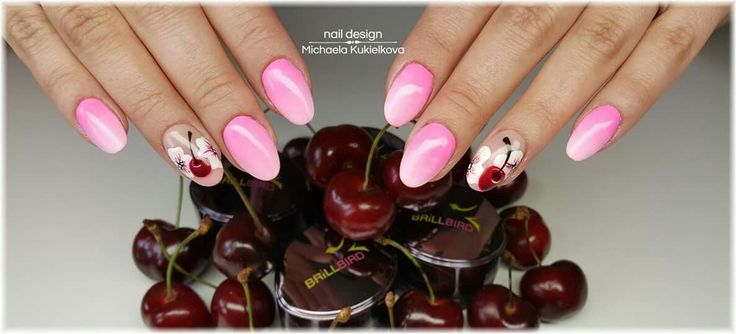 Pink ombre nails,cherry nails