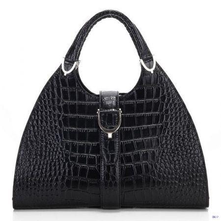 Gucci Stirrup Crocodile Leather Top Handle Bag Black