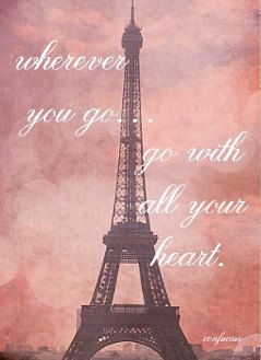 "Eiffel Tower in Pink Champagne Postcard with Confucius Quote: ""Wherever You Go, Go With All Your Heart"" - Single Postcard, $3.50"