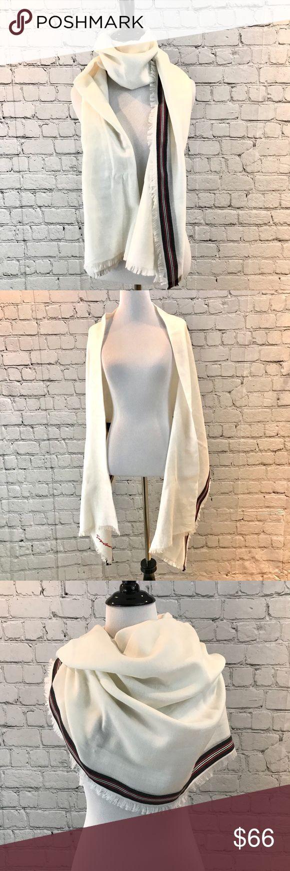 Giorgio Armani White Winter Scarf Excellent condition!! Like new. Cotton silk wool blend. White with a red and black stripe. Giorgio Armani Accessories Scarves & Wraps