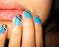 I dont like the blue with the black/white/gold but this is a cute design for short nails! Just might have to try it.