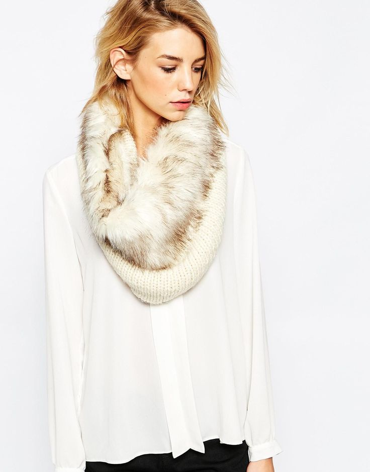 Image 1 of Urbancode Chunky Knit Infinity scarf With Faux Fur Trim