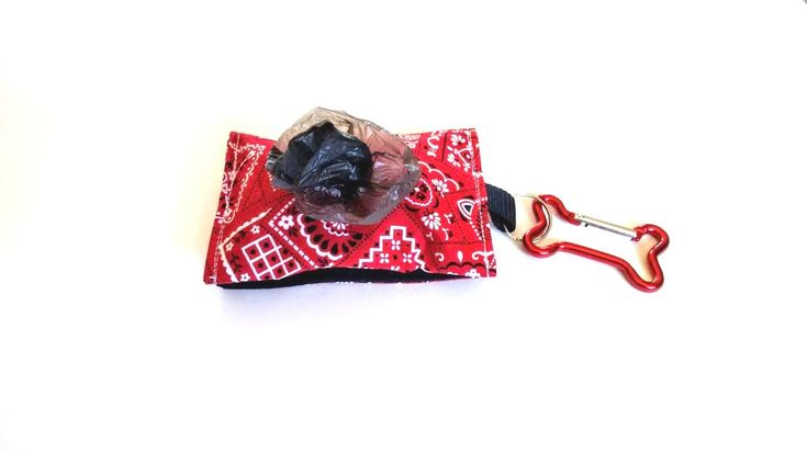 Doggy Poo Bag Holder, Dog Poop Bag Dispenser, Poop Bag Holder, Red Bandana Dog Poop Bag Holder, Dog Accessory, Gift Idea - pinned by pin4etsy.com