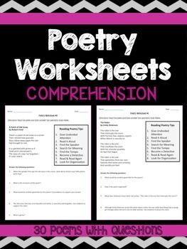 Poetry Comprehension Worksheets | Comprehension worksheets