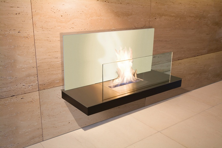 modern architecture - fireplace - radius - wall flame II - bio-ethanol fireplace - stainless steel, black finish, white glass & clear glass