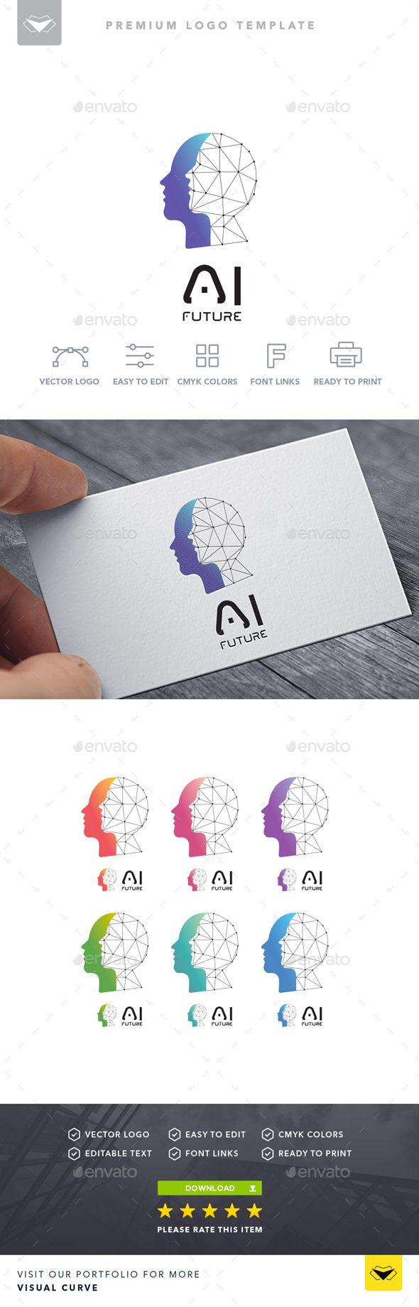 AI Logo by Visual Curve___advanced, ai, app, artificial intelligence, blue, code, colorful, digital, face, faces, future, futuristic, head, intelligen…
