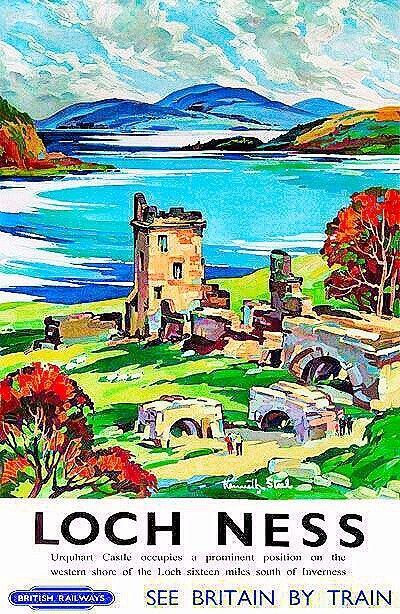Love the expressionist style of the painting! #vintagead #LochNess #retrowave #travelposter