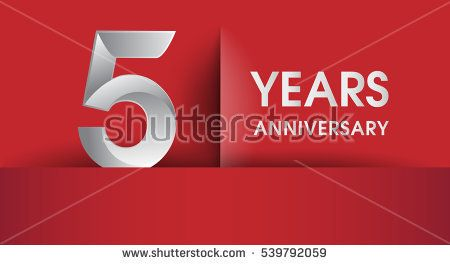 5 Years Anniversary celebration logo, flat design isolated on red background, vector elements for banner, invitation card and birthday party.