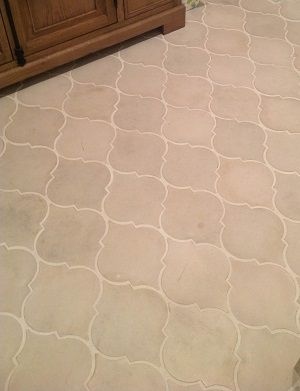 Avente Tile Project: Spanish Cement Tile in Flowing Arabesque Pattern Provide Elegant Bath Floor