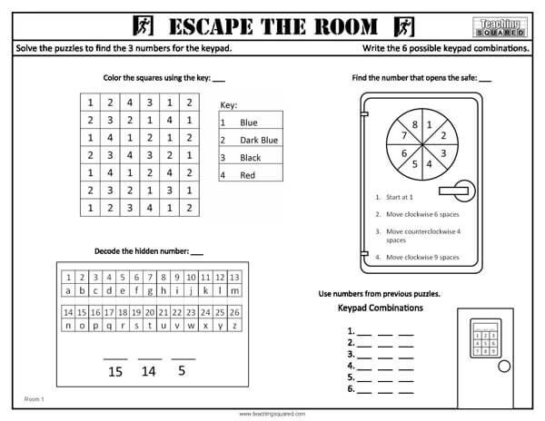 Escape The Room Worksheets Escape Room For Kids Escape Room Puzzles Escape Room