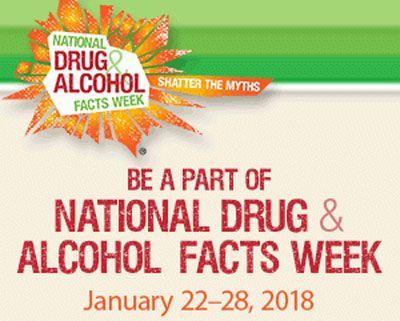 """National Drug and Alcohol Facts CHAT DAY"" has been cancelled due to the governmental shutdown but schools are encouraged to continue on with ""National Drug and Alcohol Facts"" Week (January 22-28, 2018) as planned. We hope your students have an enlightening, substance prevention week! #ndafw2018 #preventionworks https://teens.drugabuse.gov/national-drug-facts-week; http://www.gfpdrugfree.org"