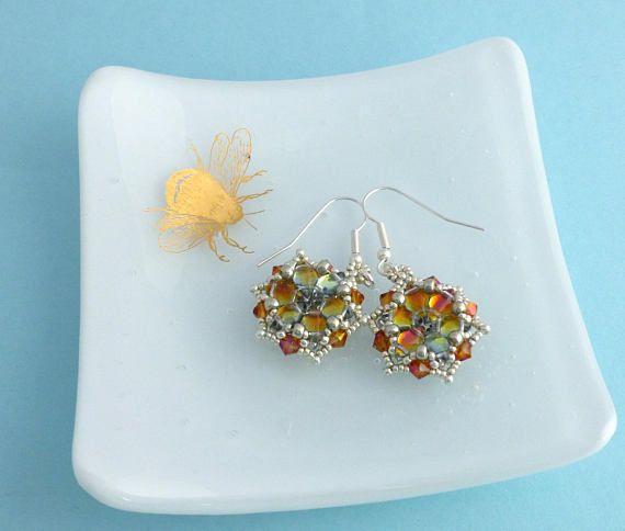 Tequila Sunrise Earrings Gift for her Colourful Starburst