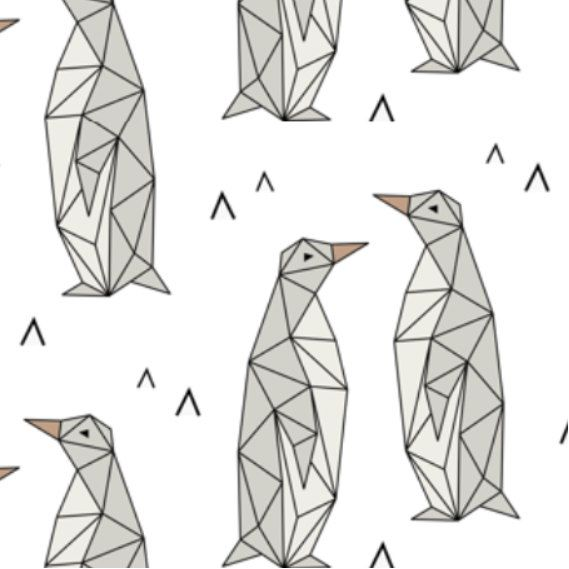 Spoonflower's Geometric Penguins fabric designed by Kimsa - printed on a variety of cotton fabrics - By the yard by Spoonflower on Etsy https://www.etsy.com/listing/270242445/spoonflowers-geometric-penguins-fabric
