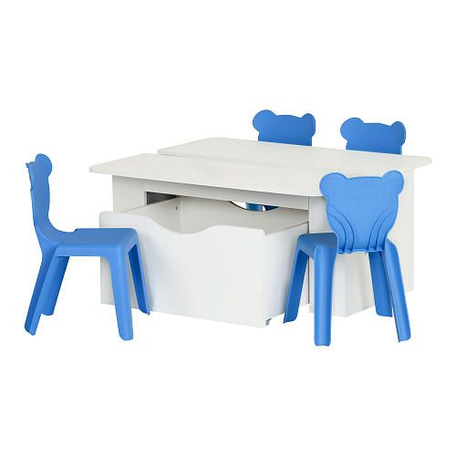 In the living room, the bedroom or the family room, create an incredible playroom for your children with this activity table! Open on 2 sides, it's ideal for 2 kids to sit down for arts and crafts. Toy box on wheels and 4 plastic chairs included.<br><br>The South Shore Furniture Crea Kids Activity Table and 4 Plastic Chairs Set - Pure White/Blue Features:<br><ul><li>Includes a Kids Activity Table with Toy Box on Wheels and 4 Kids Plastic Stacking Chairs&...