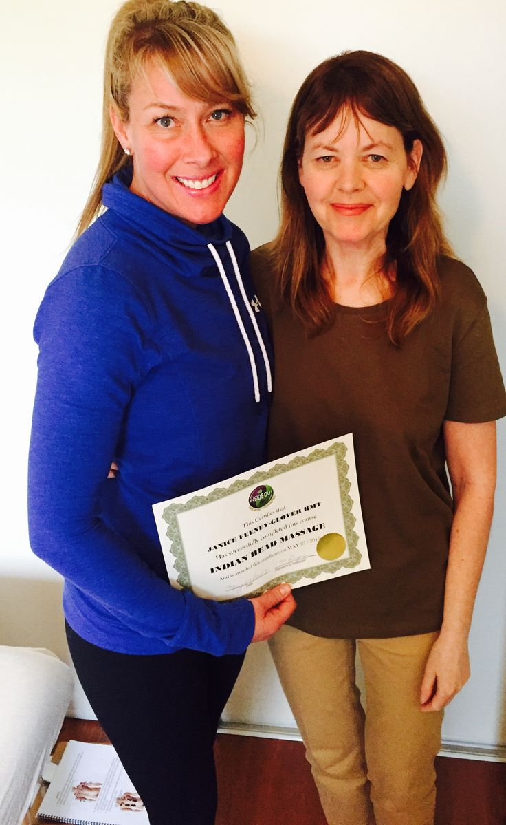 My student Janice receiving her Indian head massage certificate May 27 2017