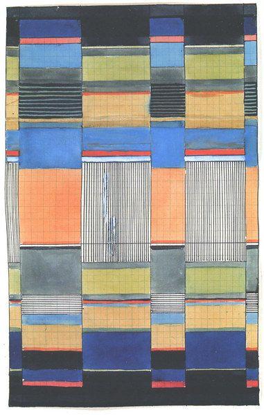 "Gunta Stölzl - Bauhaus Master; Design for a wall hanging Signed on mount: ""G.Stölzl Doppelgewebe (double-weave) Weimar 160x280"" Bauhaus Weimar 31.1x20 cm Misawa Homes' Bauhaus Collection, Tokyo"