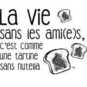 """Motif de la phrase """"La vie sans les ami(e)s, c'est comme une tartine sans """". Un motif qui lie la gourmandise et l'amitié."""