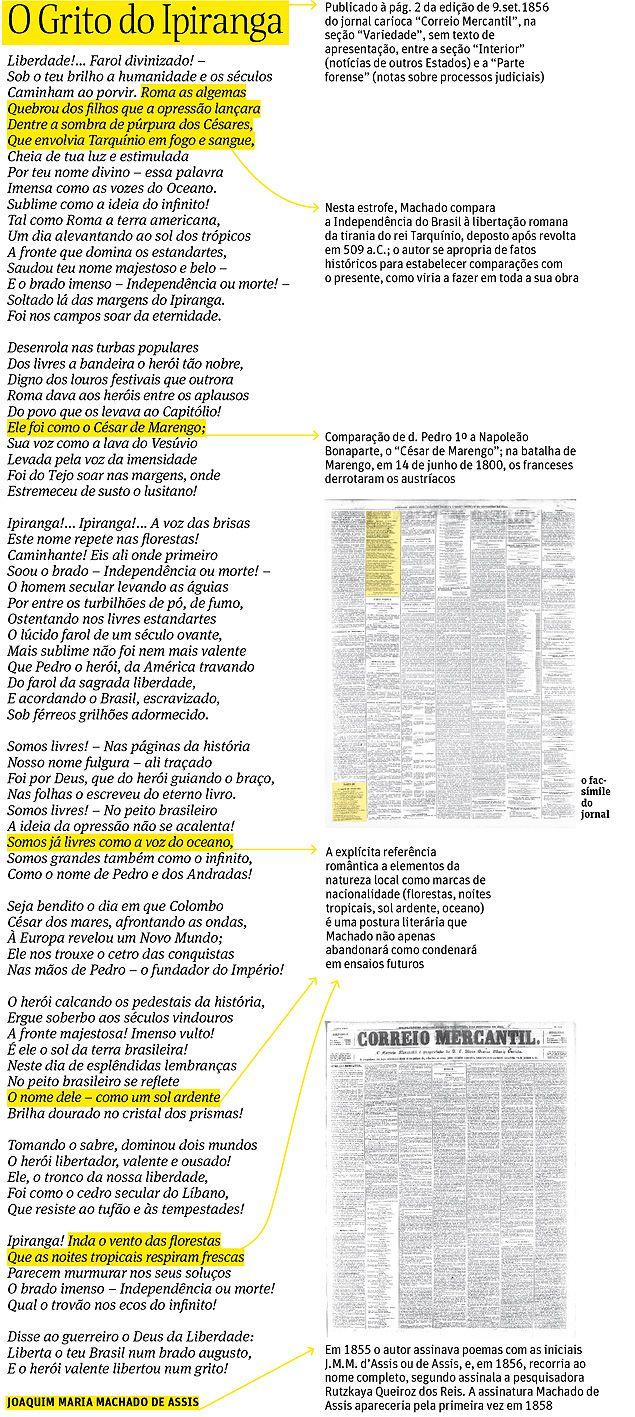 """Transcrição do poema """"O Grito do Ipiranga"""", atualizado ortograficamente por Wilton Martins, professor da UFSCar"""