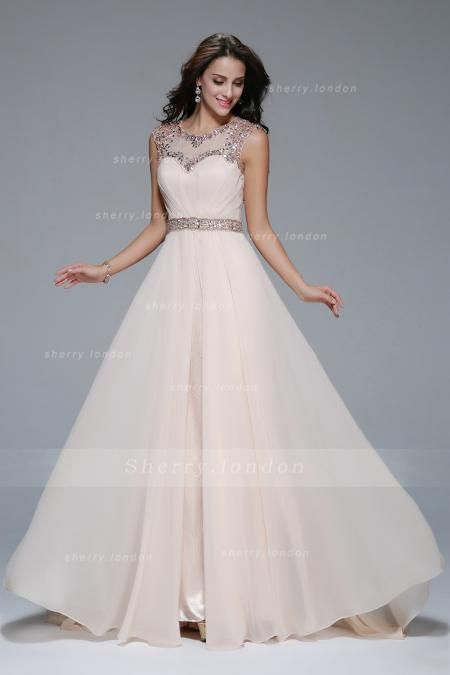 BEADING ILLUSION NECK FULL BACK BEADING A-LINE LONG CHIFFON PROM DRESS