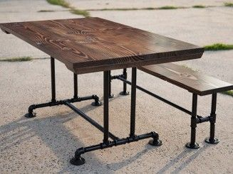 diy dining table with pipe legs and bench pedestal - Google Search