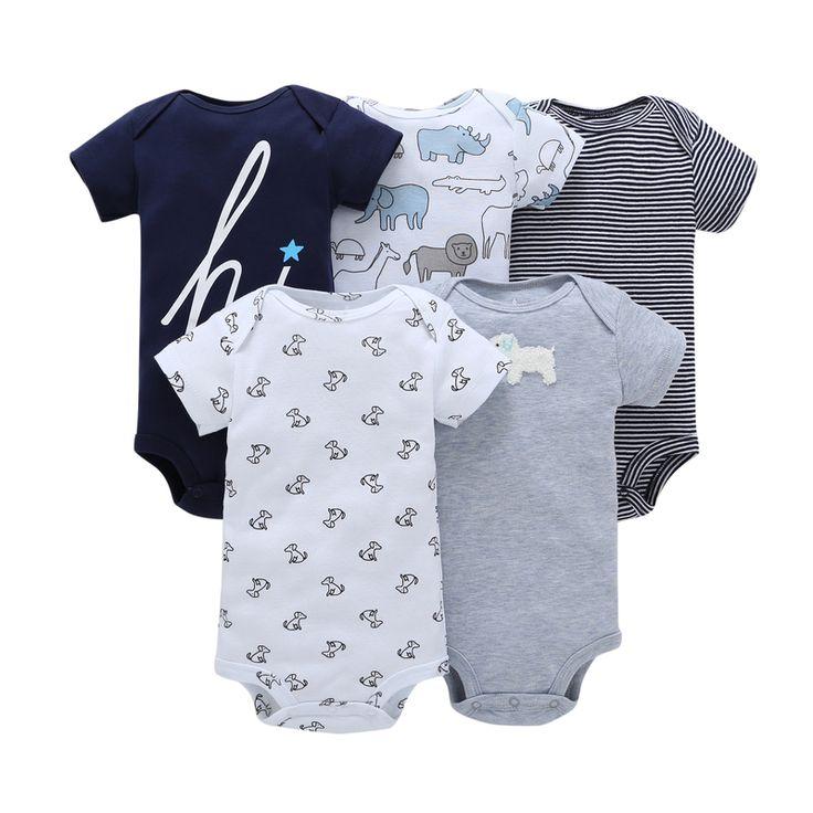 5pcs Short Sleeve Cotton Body Suits | Price: $13.80 | #babies #pregnancy #kids #mommy #child #love #momlife #babygirl #babyboy #babycute #pregnant #motherhood #photography #photoshoot