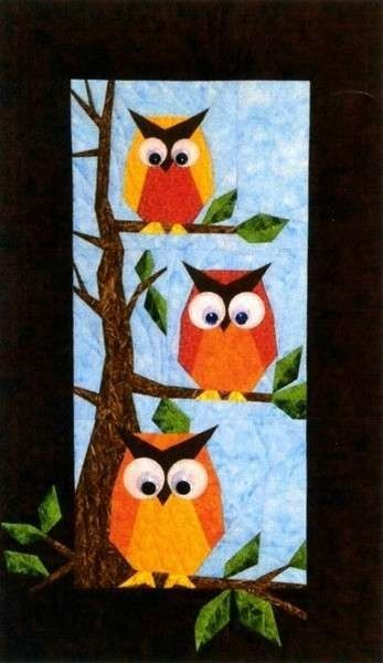 quilting foundation paper piecing | Hooters Owl Foundation Pieced Quilt Pattern Designers Workshop