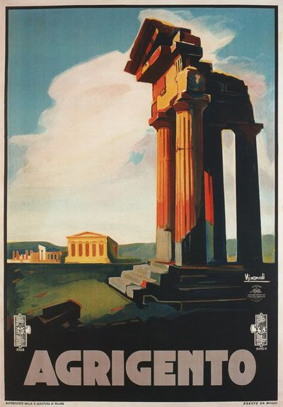 Vintage 1928 Agrigento Sicily Italian Italy Travel Poster