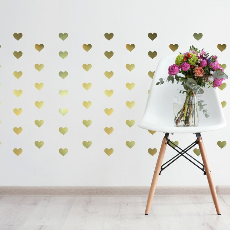 36 gold heart wall decals for less than 10