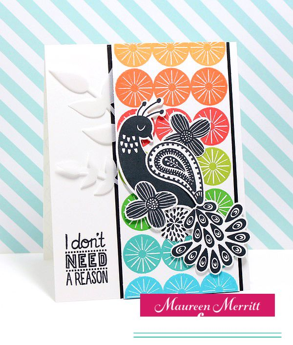 card created by Maureen Merritt for The Perfect Reason Stamp of Approval collection available on Feb 8th featuring the Paisley Peacock stamps and dies, Everyday Mod stamp set and the Perfect Vines die