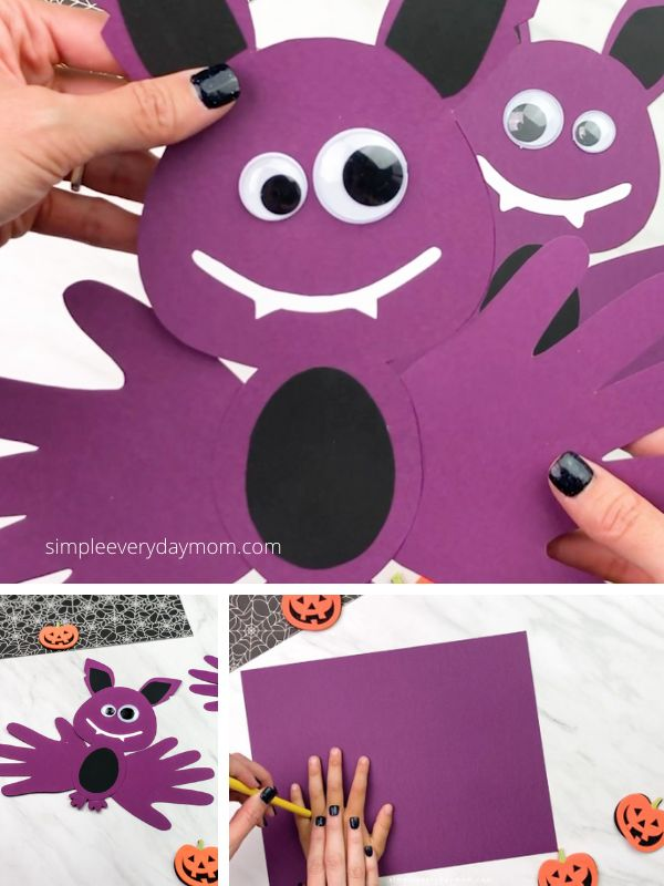 Easy Handprint Bat Craft For Halloween in 2020 Halloween