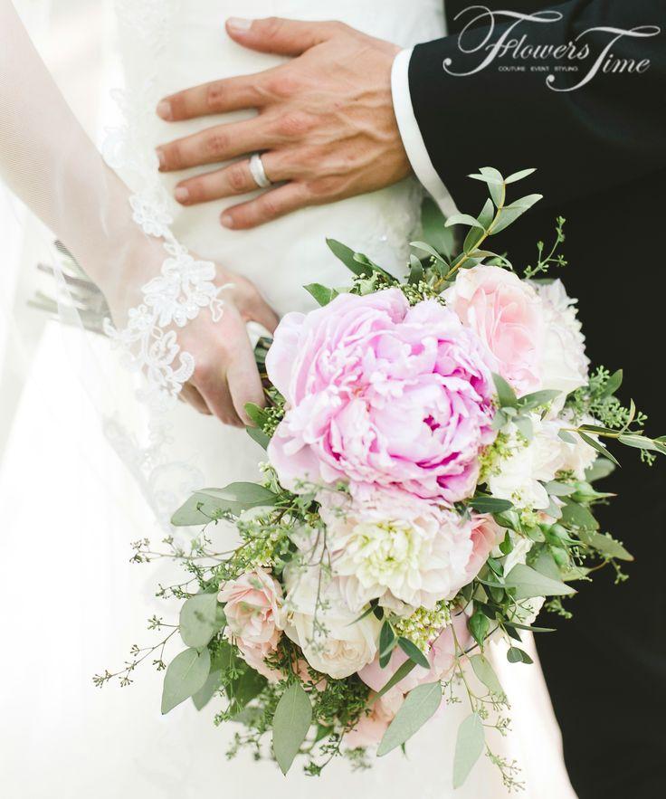 Delicate elegant pink shades bridal bouquet #wedding#event#pionies#toronto#greenery