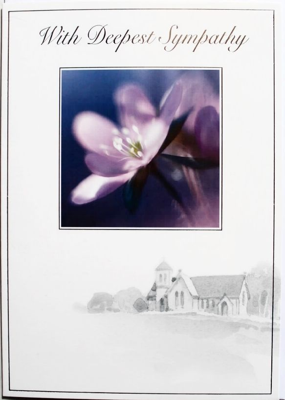 With deepest sympathy card, loss of loved one, flower theme, brand new