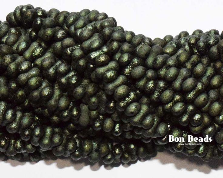 3x6mm Dark Jade Etched Farfalles @ www.bonbeads.com
